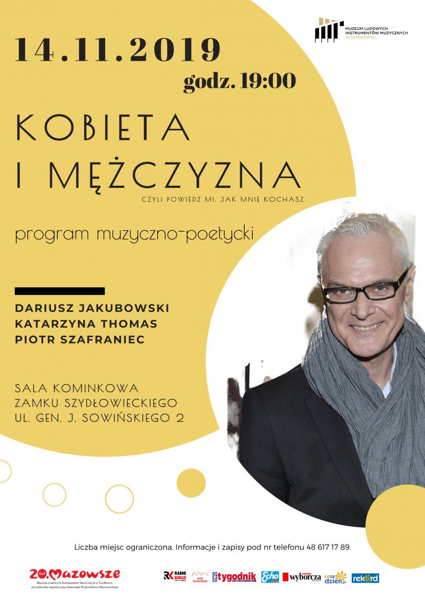 """Plakat promujący program muzyczno-poetycki pt. """"Kobieta i mężczyzna"""" w Muzeum Ludowych Instrumentów Muzycznych w Szydłowcu."""